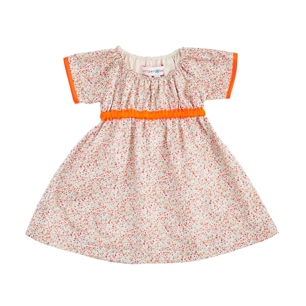 Liberty Print and Neon Orange - Empire Dress - £45