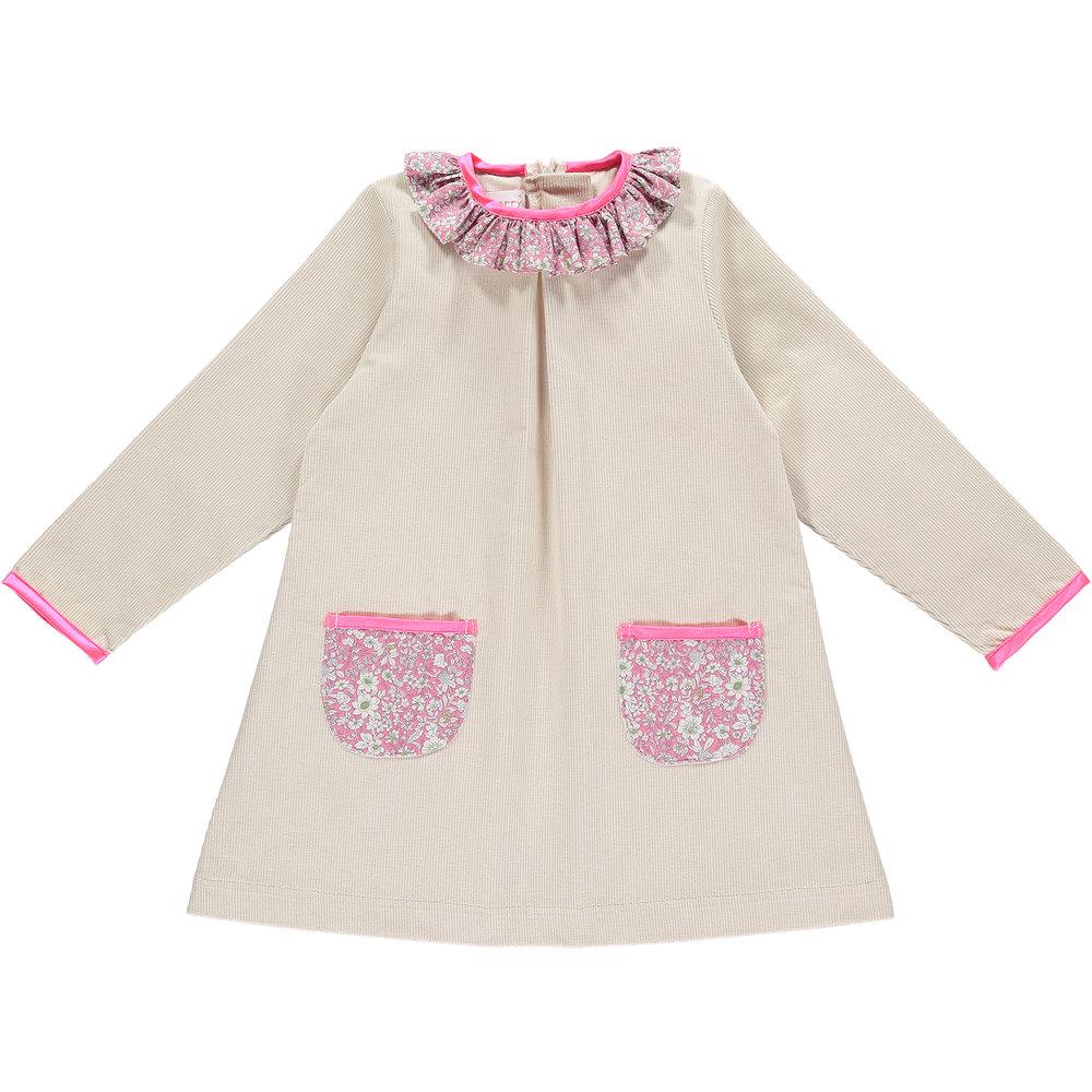 Cream and Pink - Ruffle Dress - £50