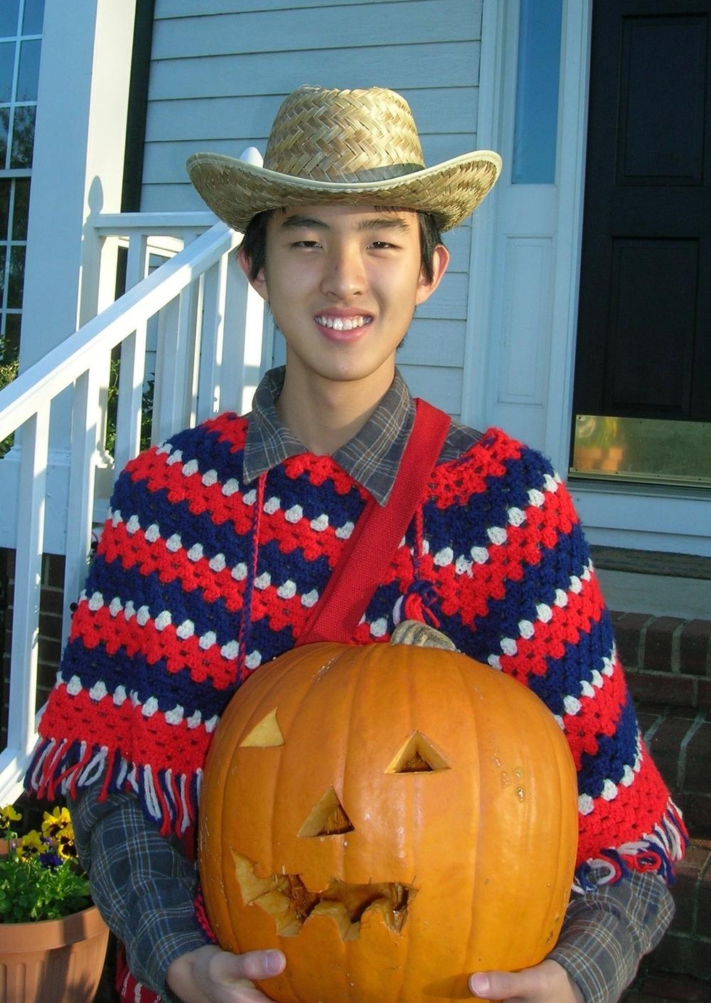 Cowboy James with jack-o-lantern