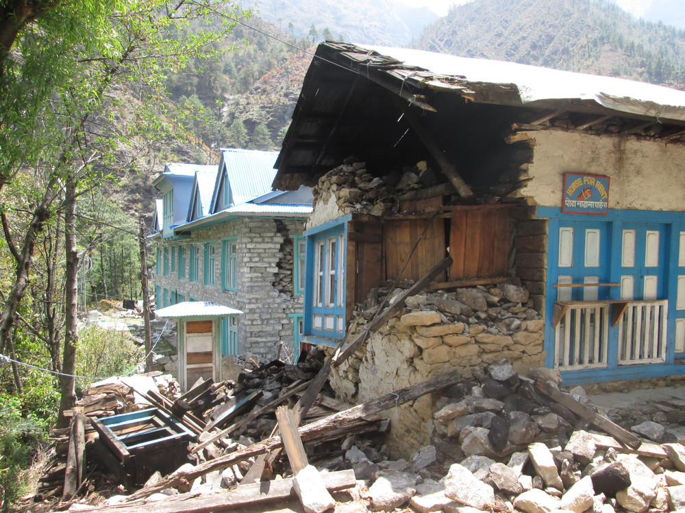 Above: Earthquake damage in the Khumbu Valley