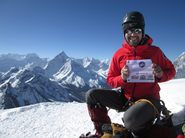 19,900 feet, just below the summit of Lobuche with the summit of Ama Dablam dominating the horizon.