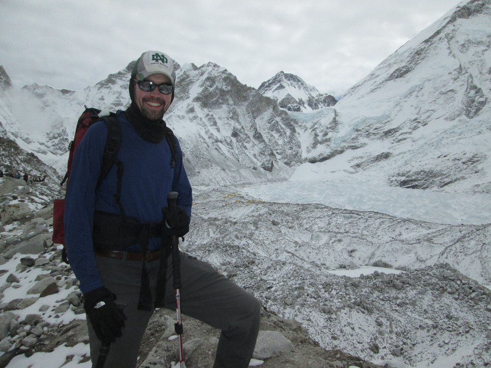 Above: Saying goodbye to Everest Base Camp