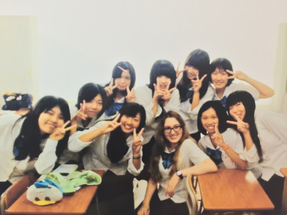 I was very shy on the first day of class, but these girls came up, and we became very close afterwards. They'd have me help them with their English homework, and I'd shared any American snacks with them. We still keep in touch to this day.