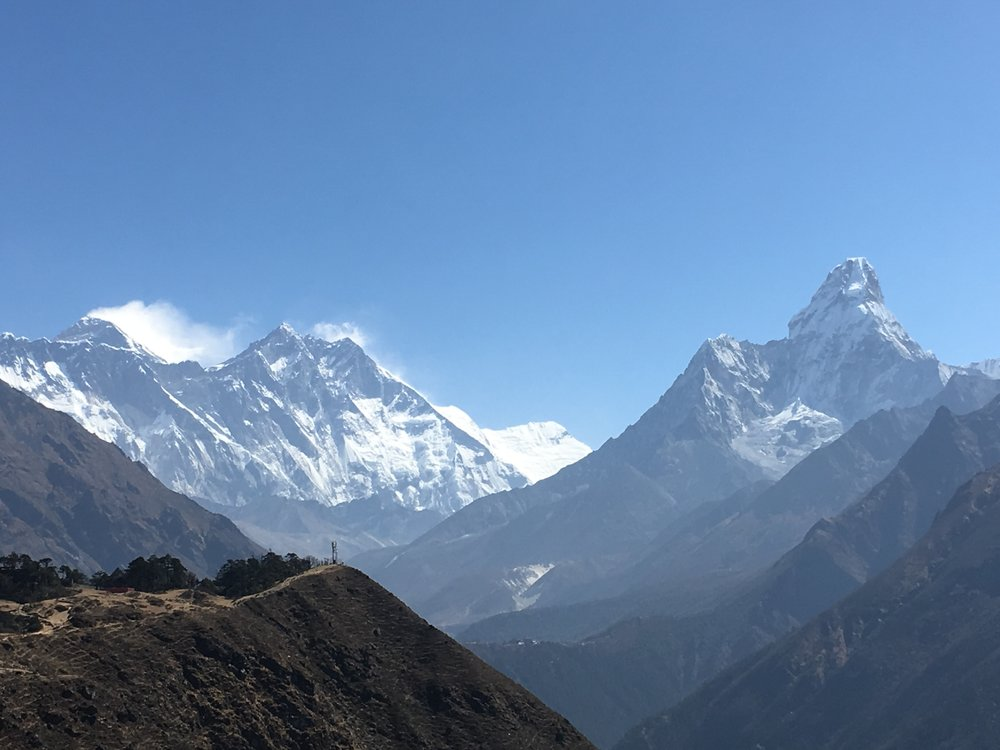 The 3 tallest peaks (from L to R) are Everest, Lhotse, and Ama Dablam