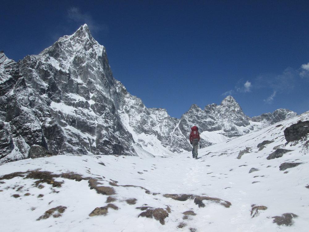 Hiking Toward Lobuche Base Camp in the Snow