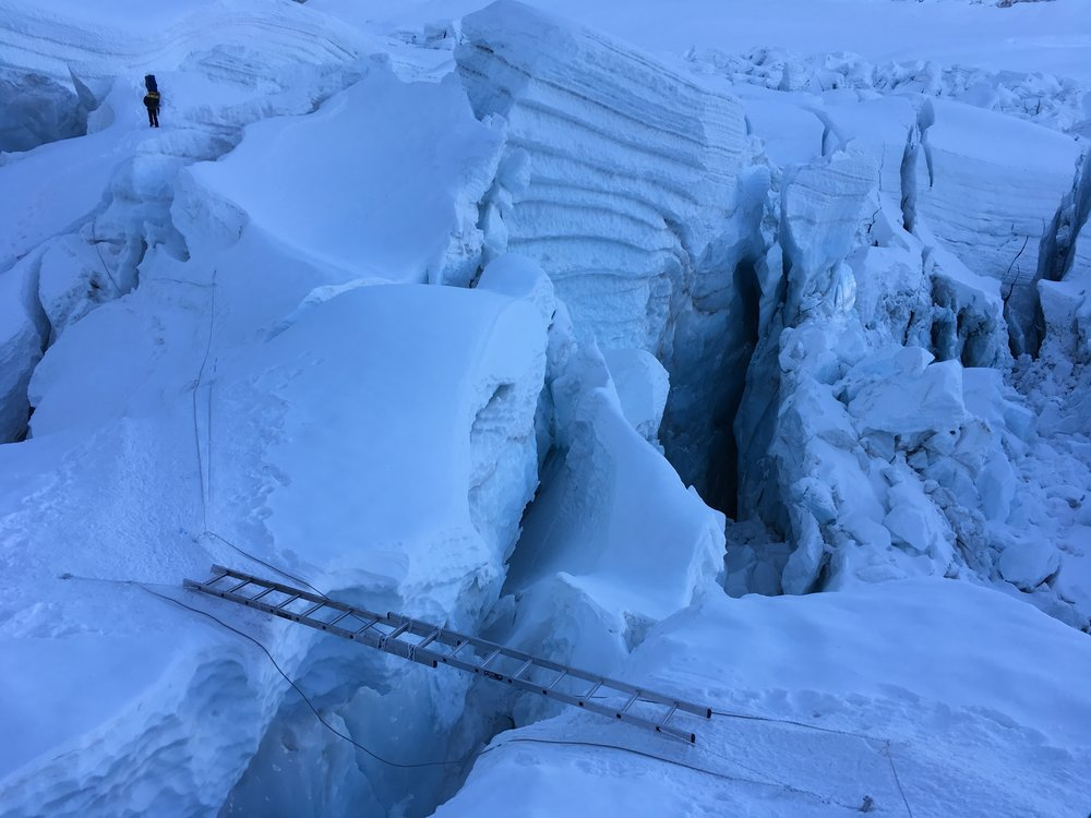 Ladders and ice blocks in the Khumbu Icefall