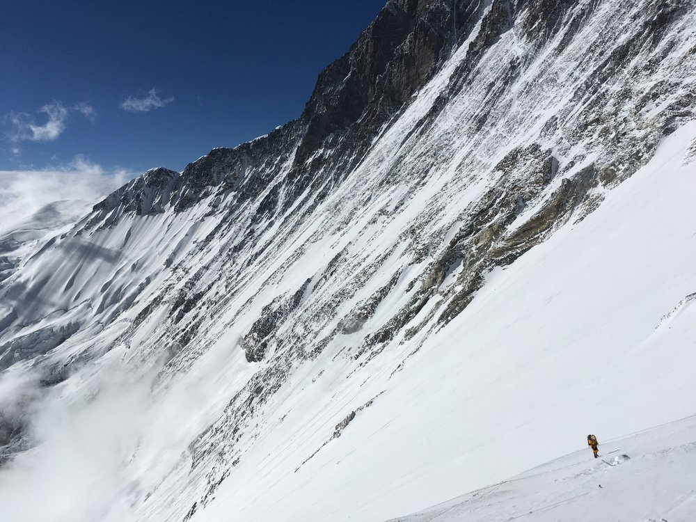 Climber ascending the Lhotse face under Everest's West Ridge