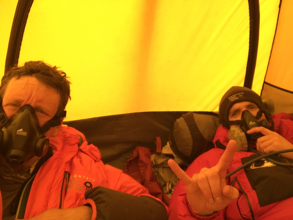 Killing time with Jason Wolfe at 24,000 feet and fiddling with our oxygen regulators and listening to Warren G
