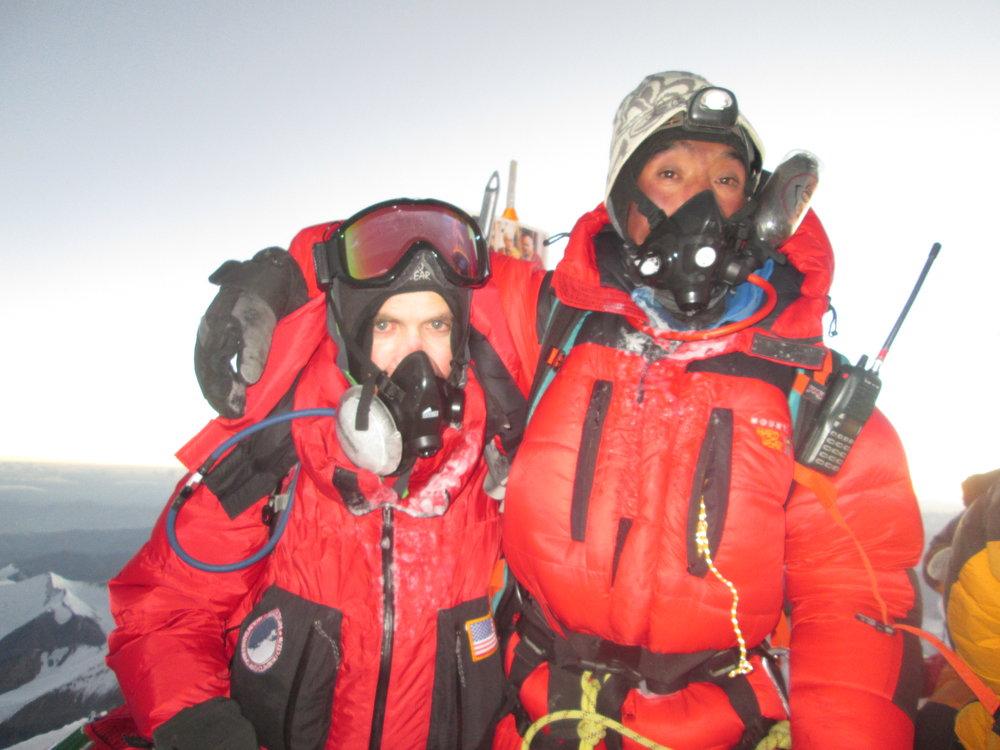 Mount Everest summit with climbing partner Pasang Kami