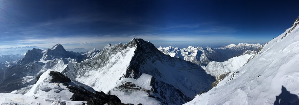 Makalu (L) and Lhotse (Center) as seen from the South Summit