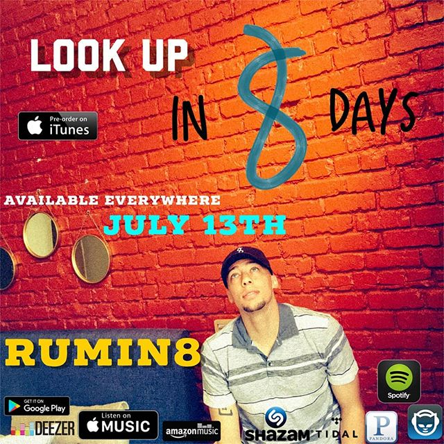 My 12 song, self-produced, sophomore album comes out everywhere in 8 days!!😏 Look Up 👀⬆️ is a story about how we are missing the important things around us because we are too consumed with the wrong things and mostly staring at a screen in our palms🤷🏽♀️🎵There's so much to see...🎵 #Lookup with me in 8 days, Pre-order (#linkinbio) right now 😁 . . . . .  #Rumin8 #Rumin8raps #rumin8records #denver #Denvermusic #artists #musicians #producers #spotify  #itunespreorder #itunes #artists #newmusic #colorado #303music #applemusic #googleplaymusic #deezer #tidal #pandora #napster