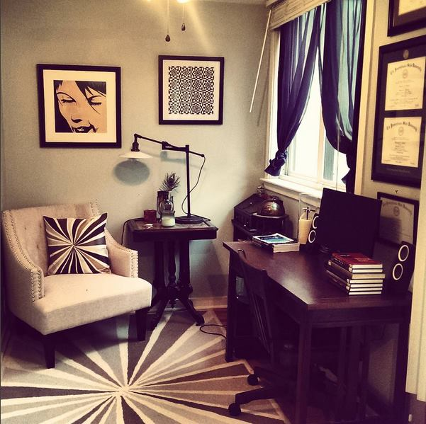 Writing Nook. Art by me from long ago. Pillow/Rug by West Elm. Desk by Crate & Barrel. Side table is antique.