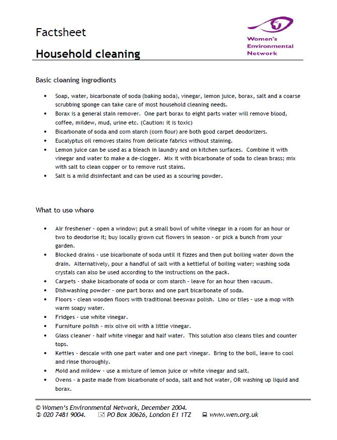 Household Cleaning Factsheet