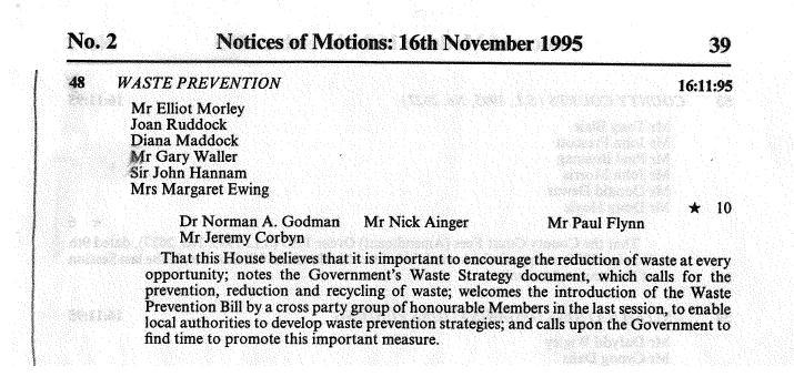 House of Commons - Notes of Motions, 16th November 1995