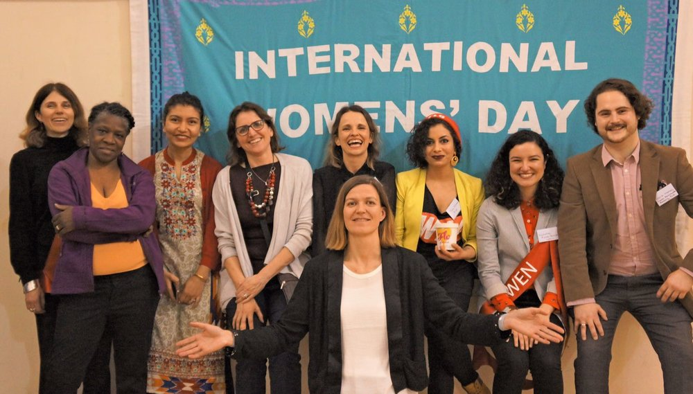 Celebrating International Women's Day 2017 - From Left: Kate Metcalf, Co-director, WEN, Glenda Trew, Community Gardening Workshop Facilitator, WEN, Ruby Raut, Environmenstrual Project Officer, WEN, Heidi Ringshaw, Events & Marketing Coordinator, WEN, Kath Clements, Mooncup, Tara Chandra, Co-founder FLO, Natasha Piette-Basheer, Environmenstrual Project Officer, David Morrall. Trustee, Nepal Earthquake Recovery Fund and Sally King, Menstrual Matters (front) at The WEN Forum - How Can Periods Save the Planet?