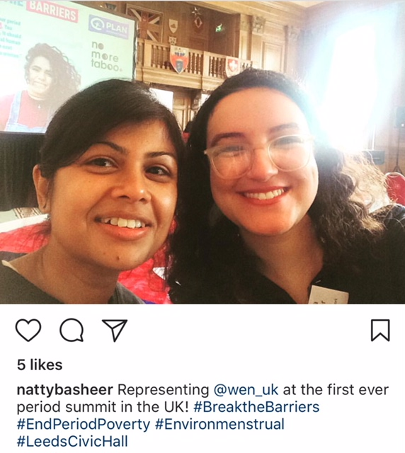 Shaheda and Natasha at Period Poverty Summit in Leeds