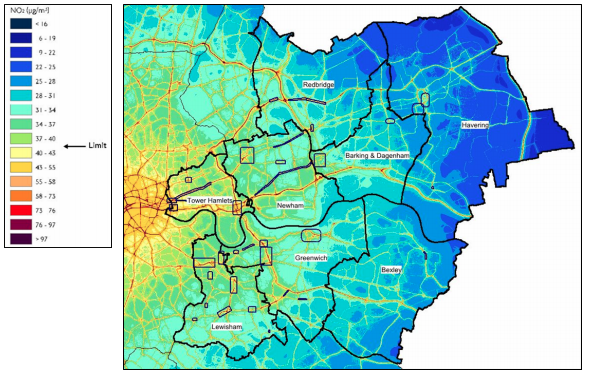 East London's m  odelled annual mean concentrations of NO2, in μg/m3    Source: London Atmospheric Emissions Inventory