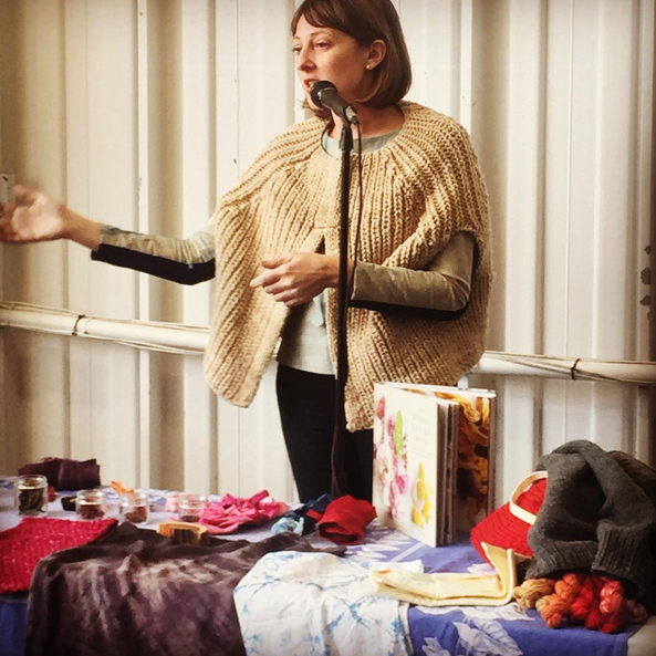 Kristine Vejar speaking about natural dyeing techniques in her new book, The Modern Natural Dyer, at the Tales of Yarn demo area at the NYS Sheep & Wool Festival on 10/18/15. Photo credit: Melissa Esner