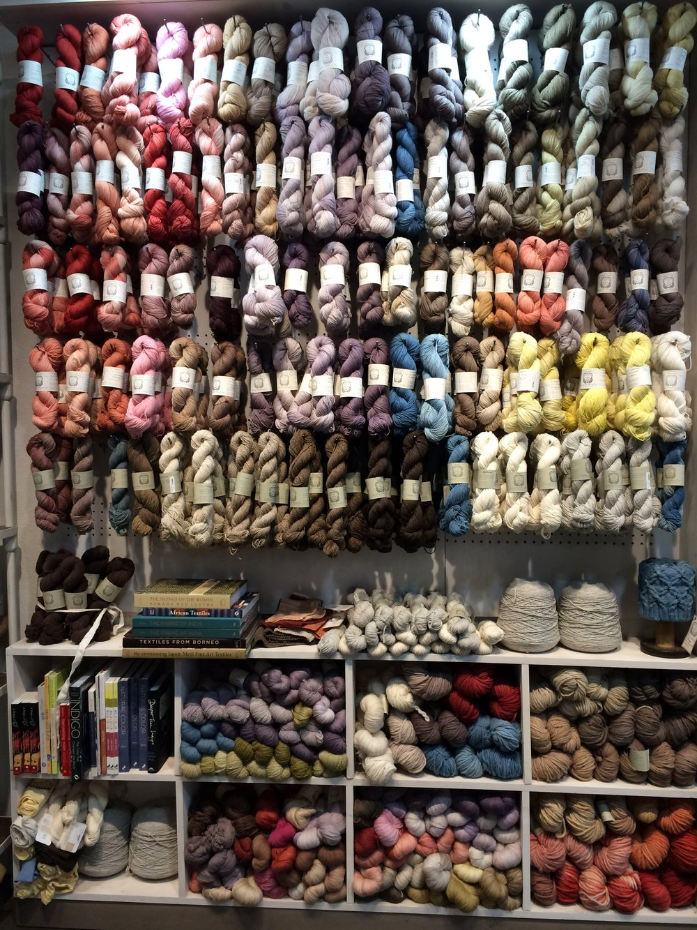 An awe-inspiring range of colors in Kristine's own lines of naturally dyed yarn, made from California-raised wool