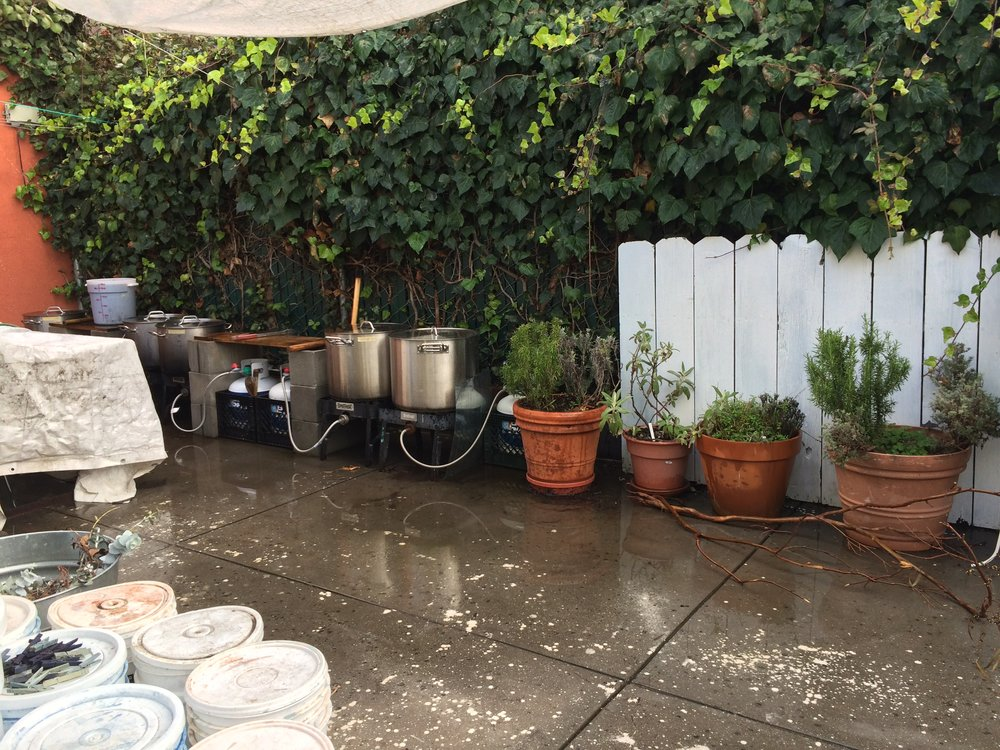 Butane stoves for dyeing outdoors—which Kristine recommends particularly when using indigo