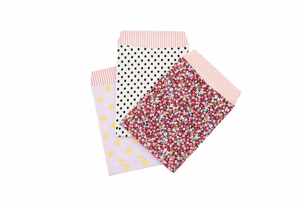 Fabric-covered envelopes