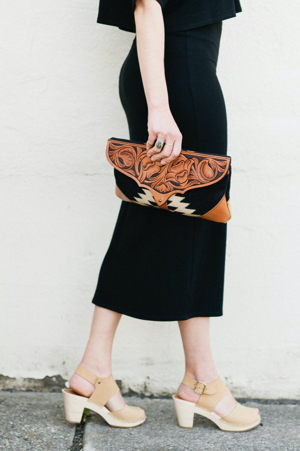 Western Bound Goods Pendleton Leather Clutch