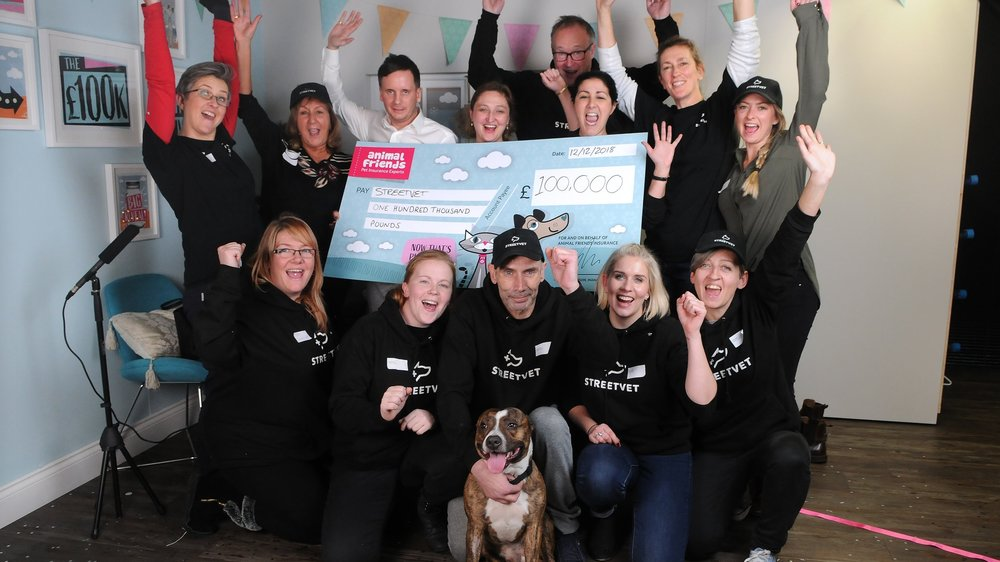 StreetVet win the £100k Charity giveaway in December with VetHelpDirect's Social Media Manager Claire Simper joining in with the team celebrations.  Photo: Tom Gregory, @Photographic. Salisbury Newspapers