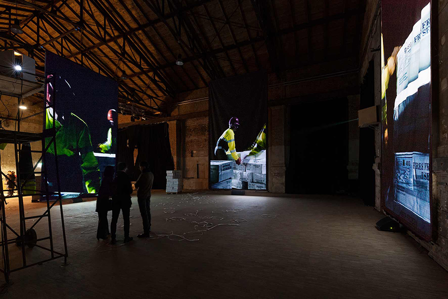 Installation view. Each screen was 7 meters high and 4 meter wide. Photo: dotgain