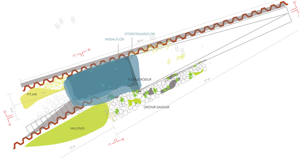 The winning proposal in scale 1:100. Blue is various states of flood depending on the time of the day. The sculpture will led in the sea in accordance to the natural cycle of flood and tide. Green is various systems for encouraging growth of wild shoreline plants or 'grips'. The brown wavy  line is traditional metal plates used in port constructions that will serve is 'interventions' sliding through the surface and down. People will be able to walk to the bottom of the sculpture by a ramp on the right or by steps on the left.