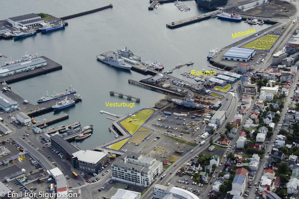 The possible locations at Reykjavik midtown port