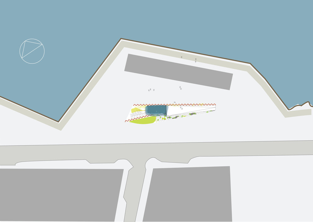 The sculpture shown in its proposed location together with the future road system (light grey) and residential area (dark grey). The dark grey box next to the shoreline are housing for tourist service industry.  The placement of the sculpture is designed to catch the pedestrian traffic going through the port area, inviting pedestrians to enjoy the area on their own terms.  ''... what the map cuts up, the story cuts across.'' - De Certeau