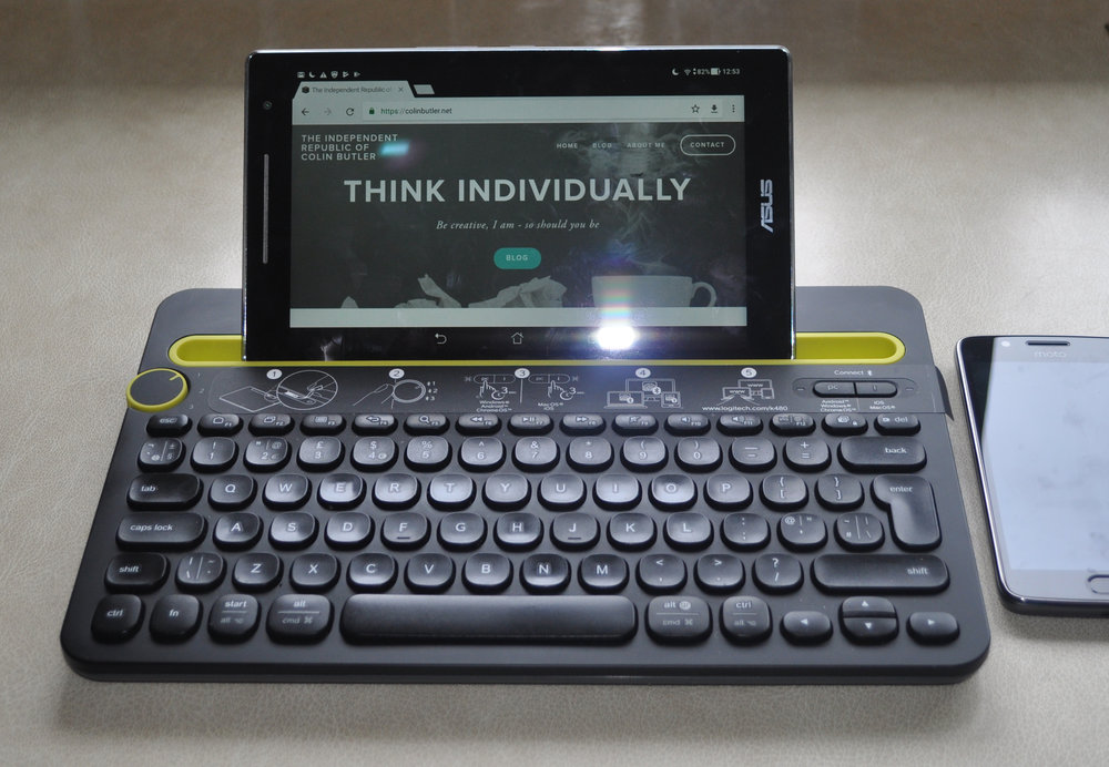 Logitech K480 with ASUS Tablet in holder horizontally