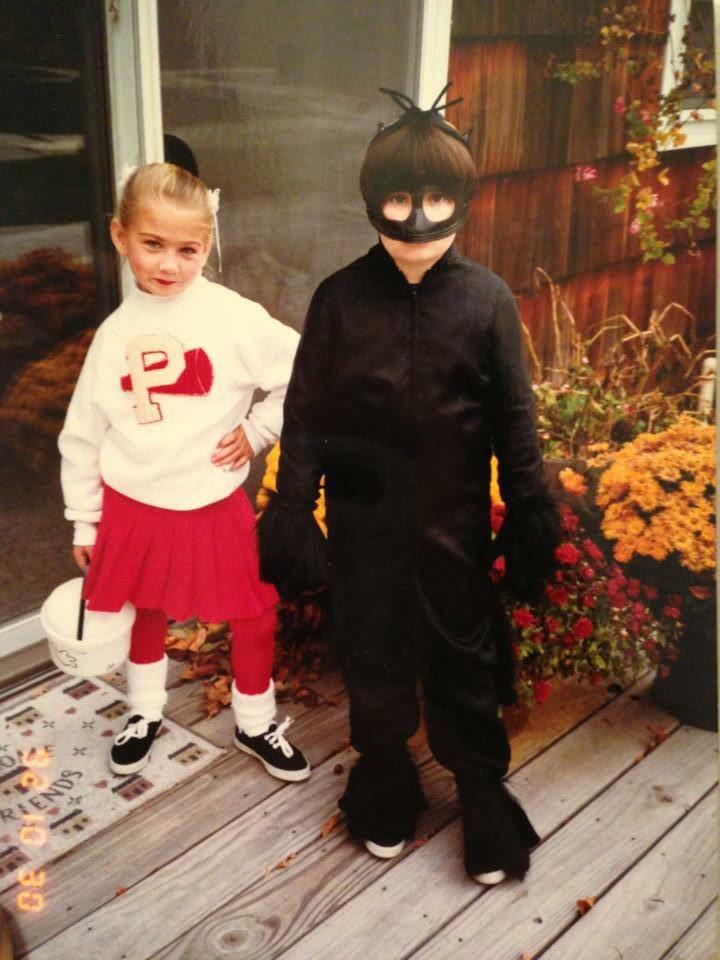 "Keryn Thompson (right) dressed as ""Catwoman"" (sorta)  circa Halloween, 1992"