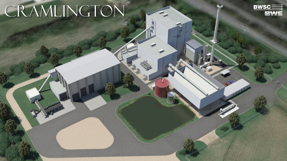 Artists impression of the Cramlington Biomass CHP Plant