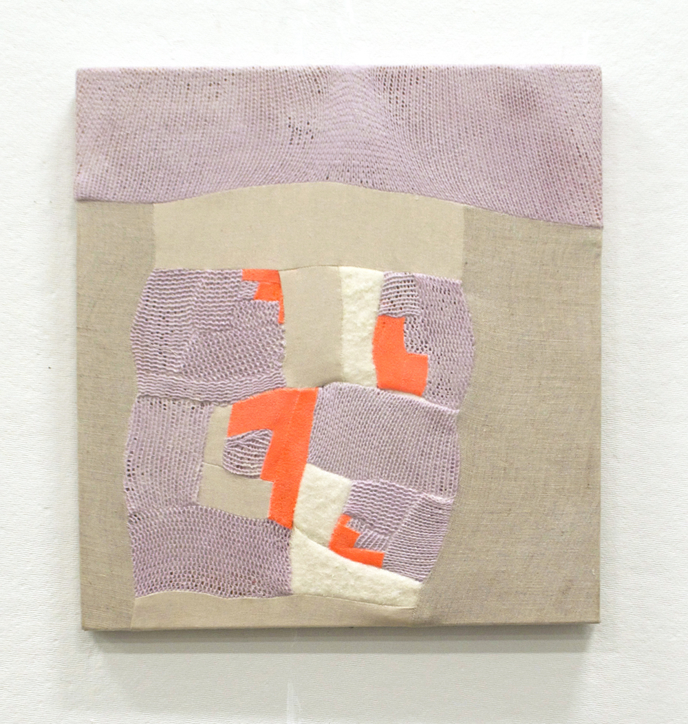 "NEON BEIGE   2015  pieced fabric scraps on stretcher, acrylic gloss medium  14"" x 13""   sold"