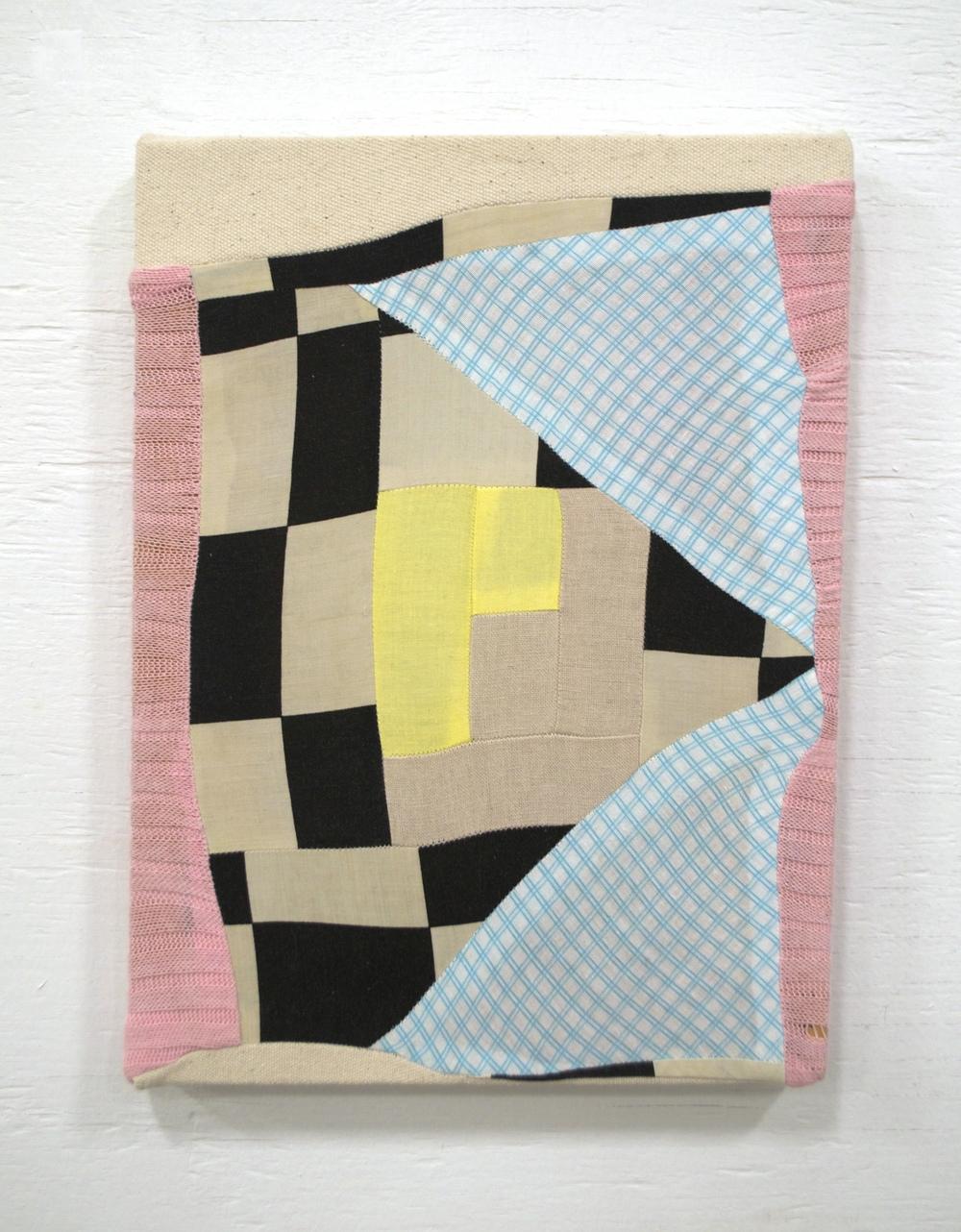 "FUTUREMAN   2015  pieced fabric on stretcher  12"" x 10""   sold"