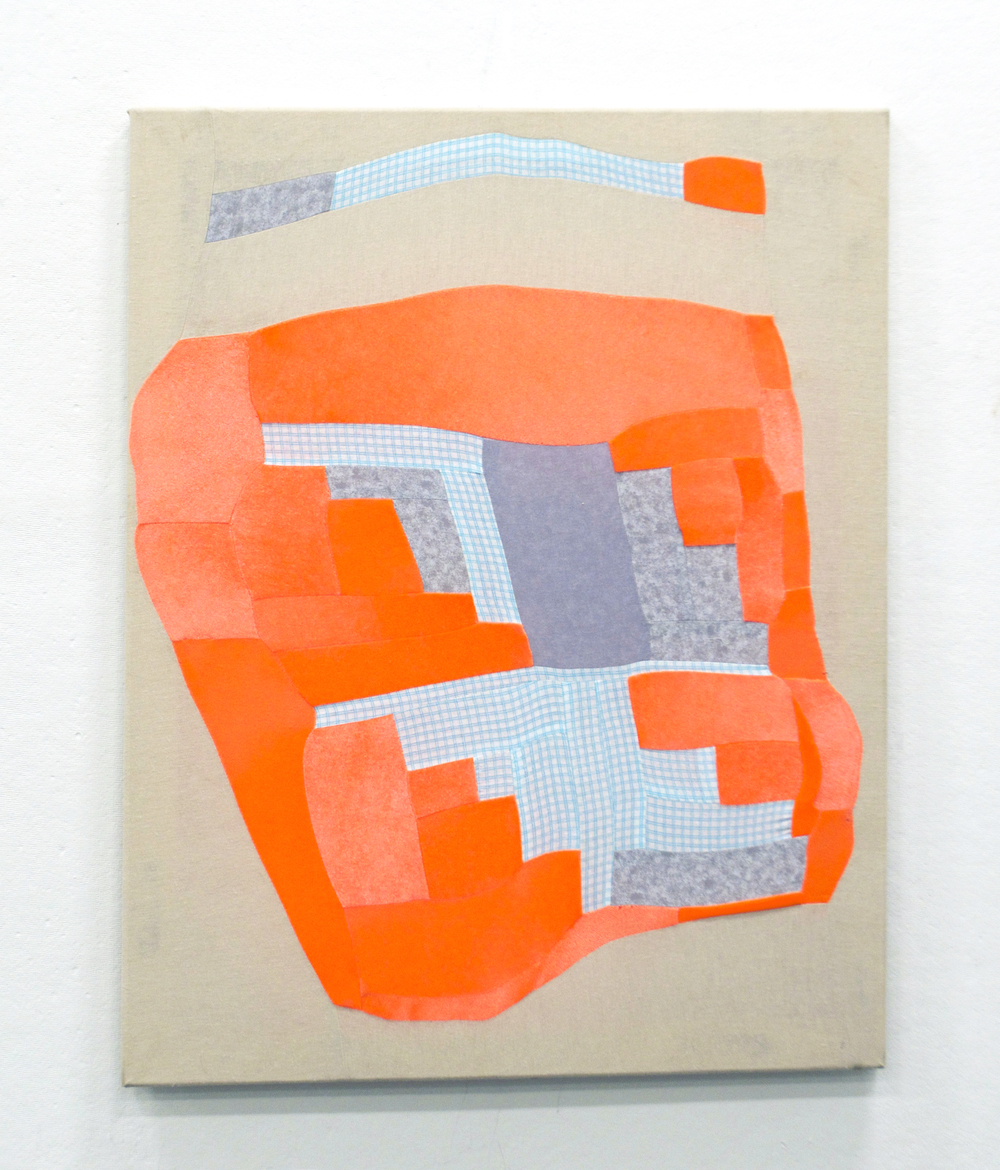 NEON BULGE   2015  pieced fabric scraps on stretcher   sold