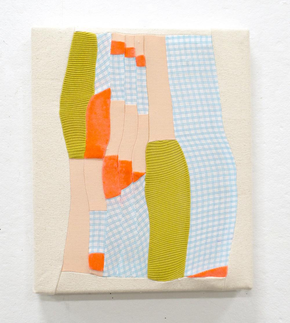 "NEW KITCHEN   2016  pieced fabric scraps on stretcher  12"" x 10""   sold"