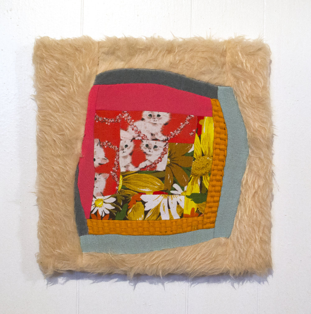 "SOME JUST CLAP THEIR HANDS, OR PAWS, OR ANYTHING THEY'VE GOT NOW   2016  pieced fabric on stretcher  12"" x 12""   sold"