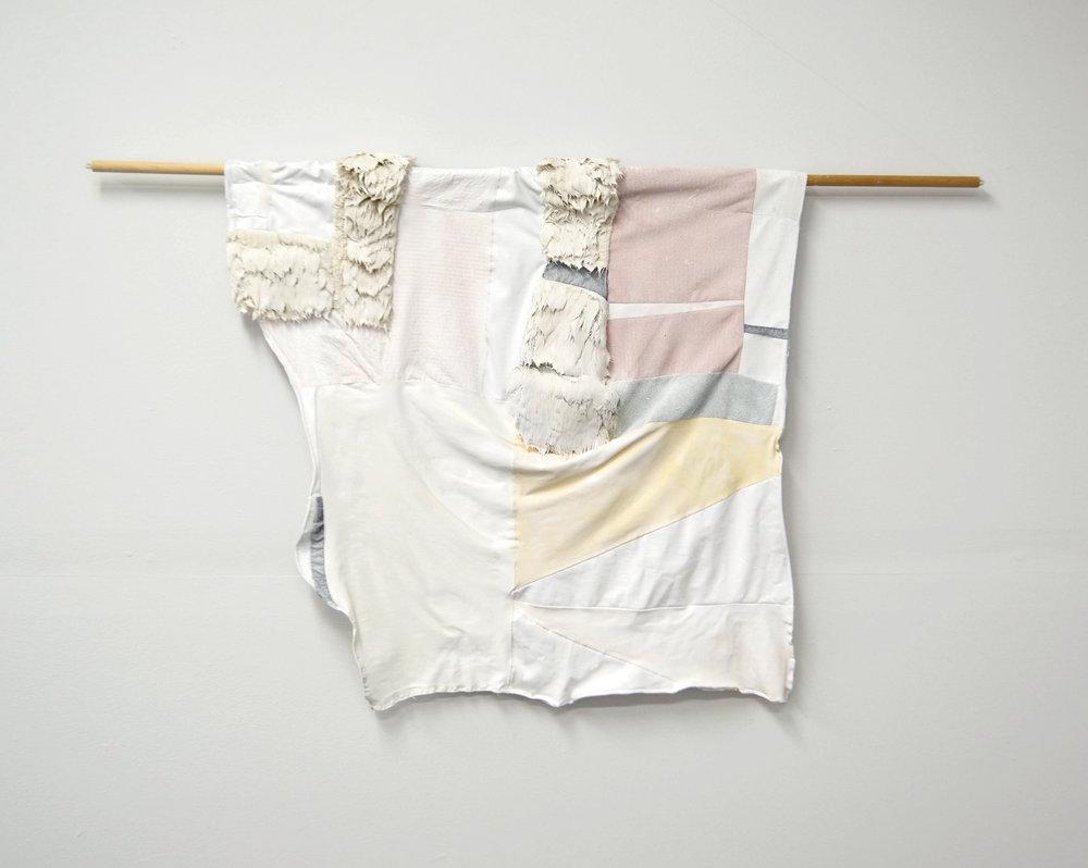 Divine Jealous  Acrylic on pieced fabric on dowel  2017