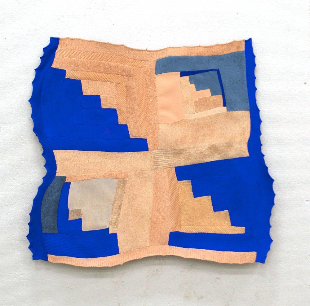 """FRANCES   acrylic on pieced fabric  21"""" x 23""""  2016"""