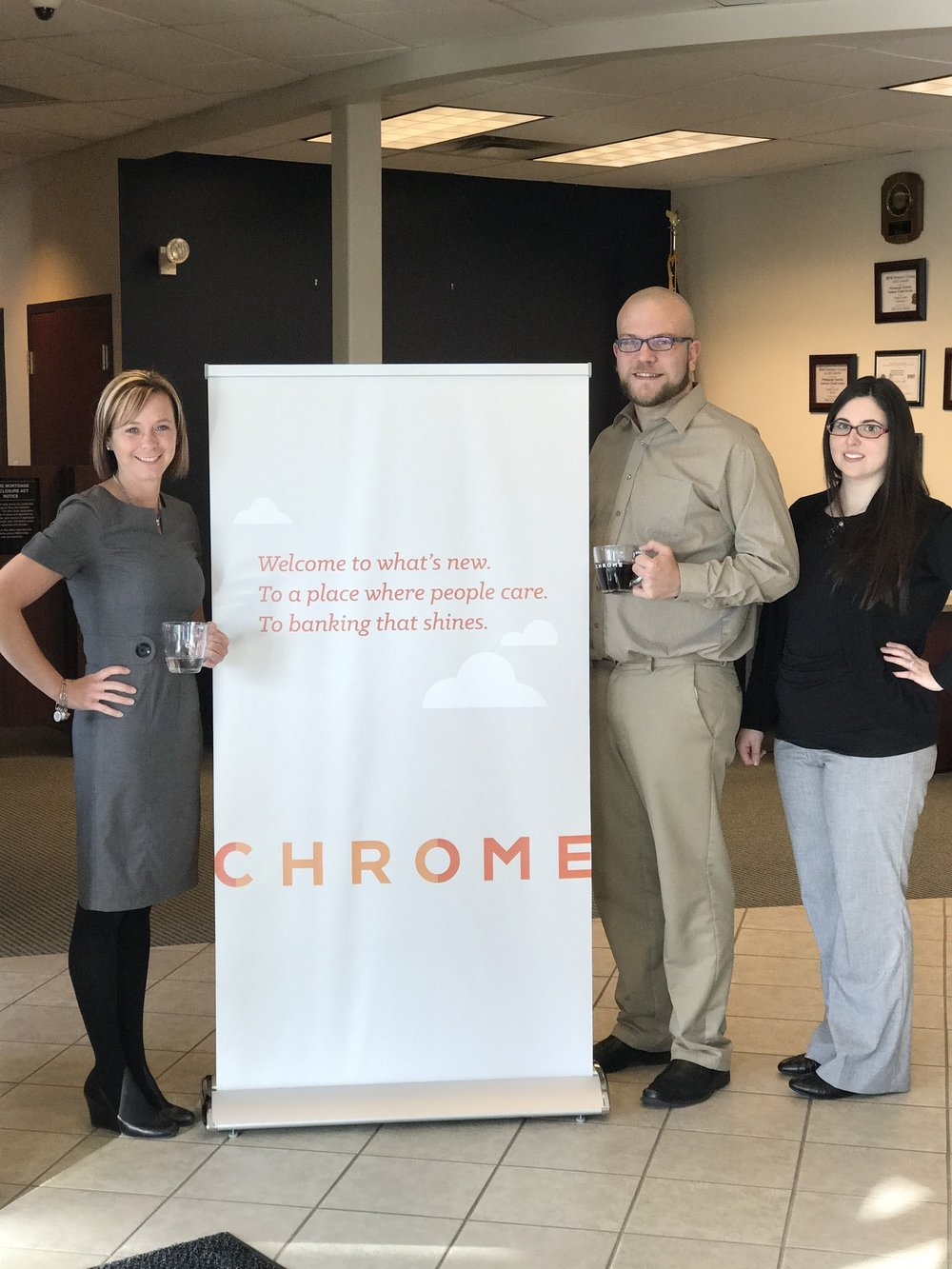 Courtney, Chris and Amy welcoming customers to the new Wexford CHROME location.