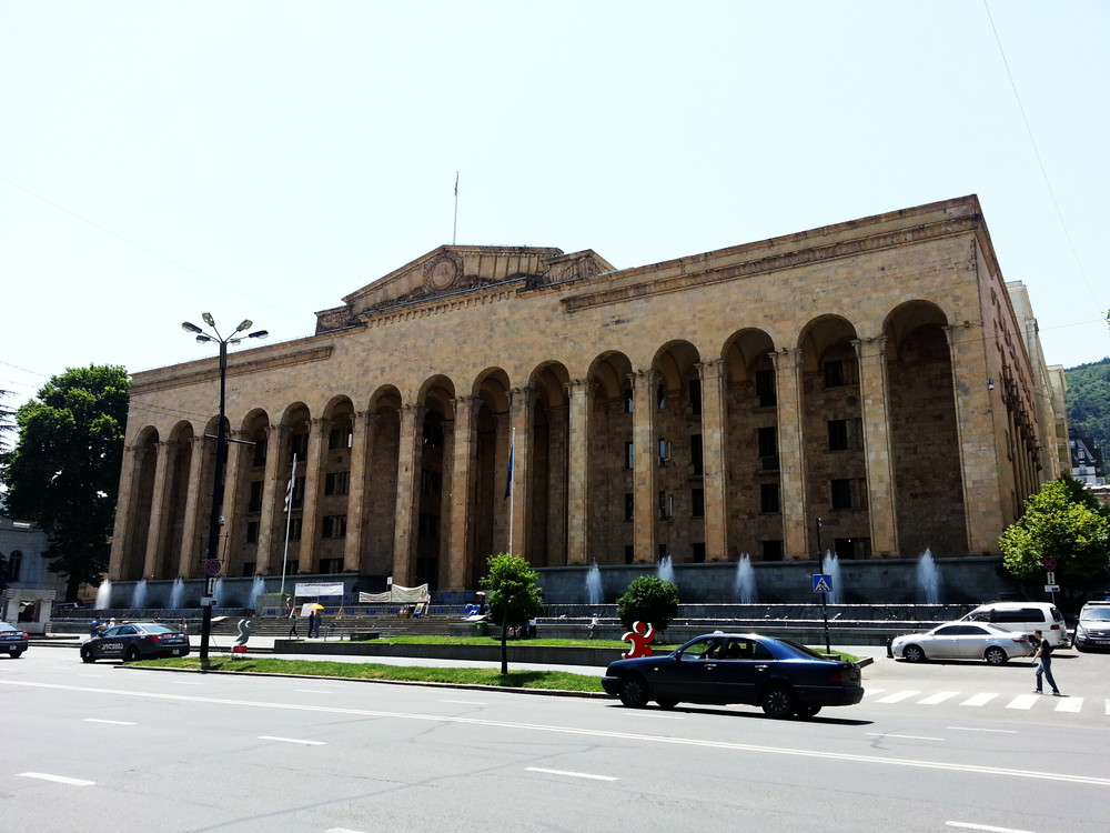 Old Parliament Building.  The new Parliament is in the city of Kutaisi since 2012, 230 km west of Tbilisi.