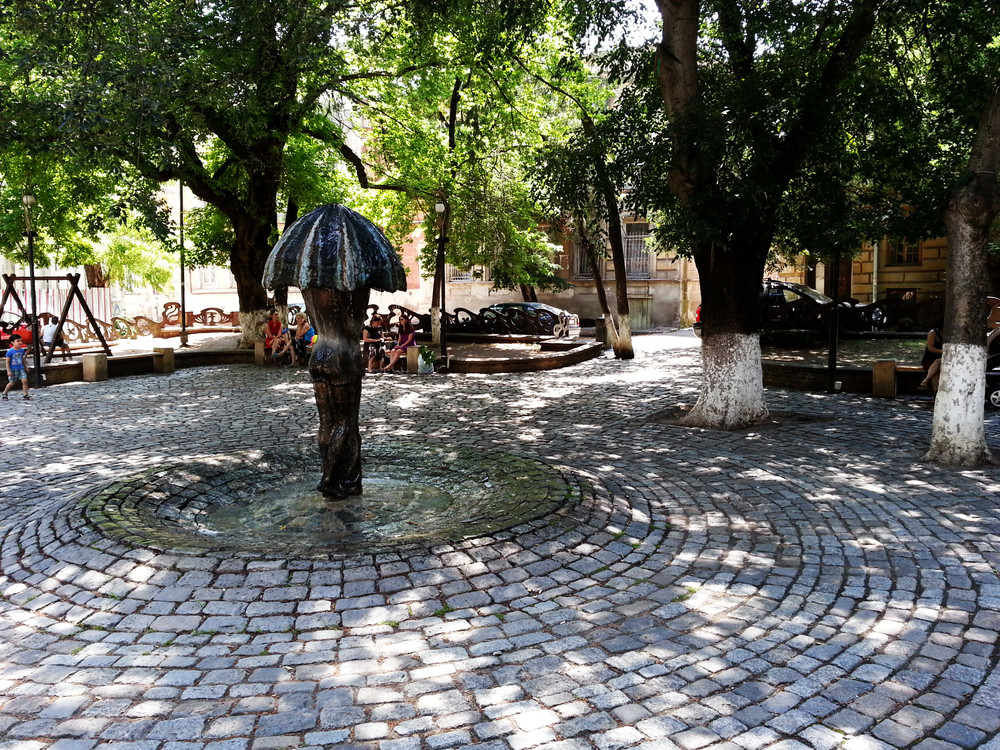 Lado Gudiashvili Square.  A shadowy tiny square between Liberty Square metro station and Old Tbilisi.