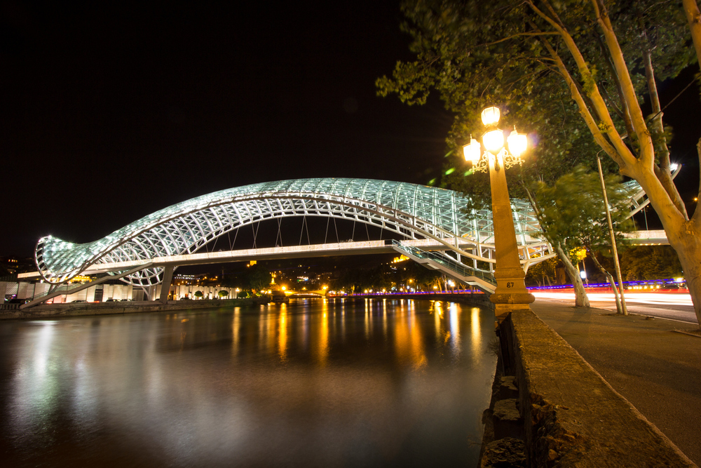 The Bridge Of Peace by night.  The LEDs are programmed according to the movements of the pedestrians on the bridge