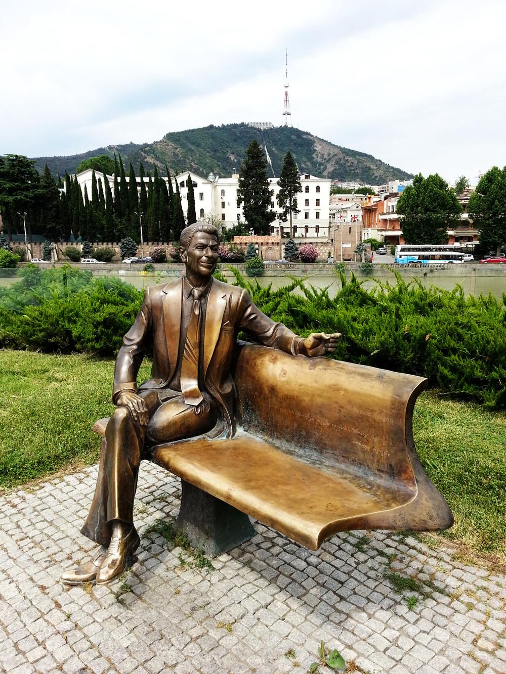 Ronald Reagan Statue in Tbilisi.