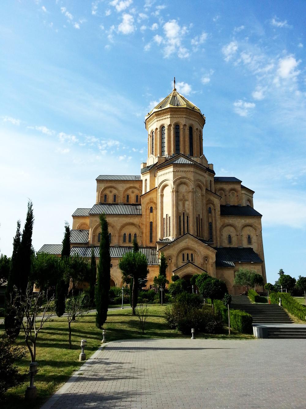 Tsminda Sameba Cathedral.  The facade from the south.