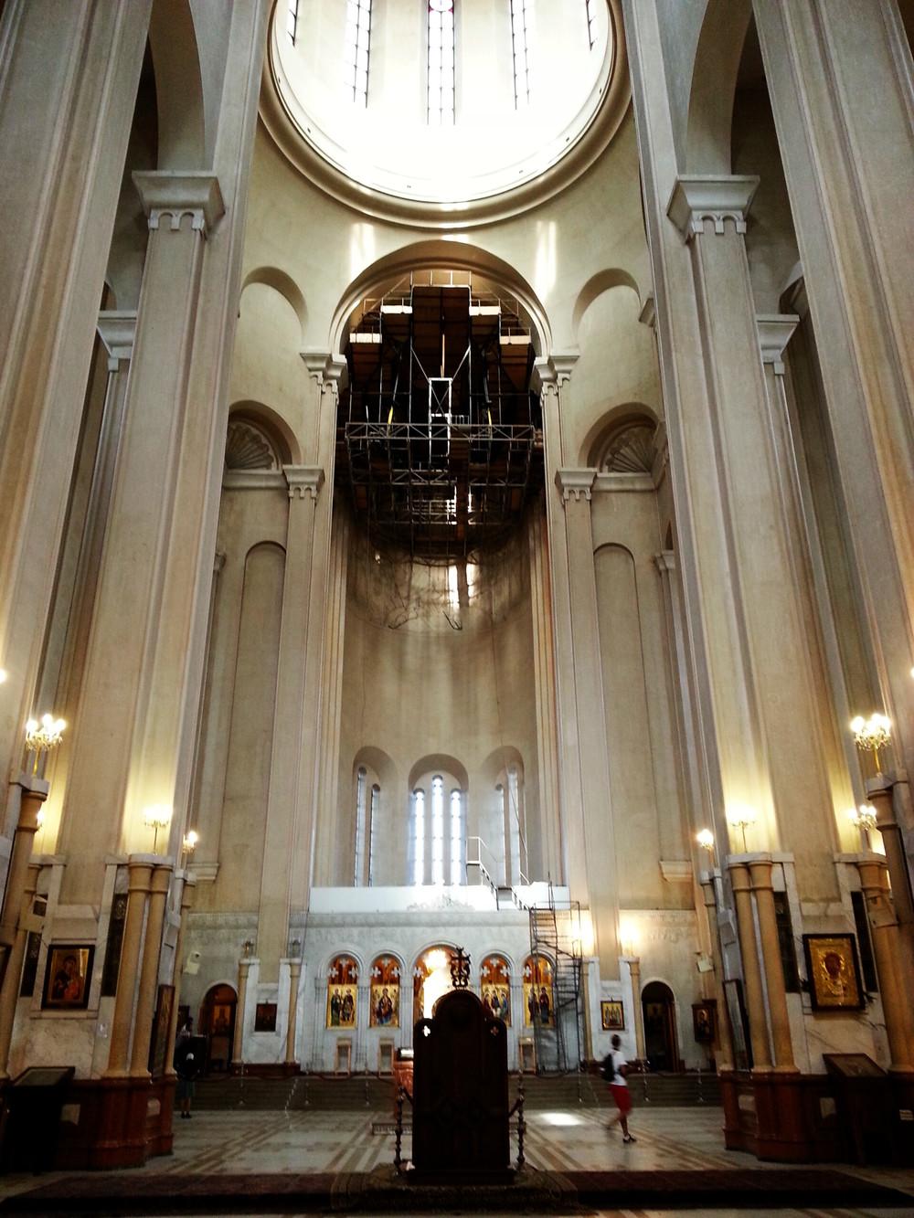 Tsminda Sameba Cathedral.  The interior...