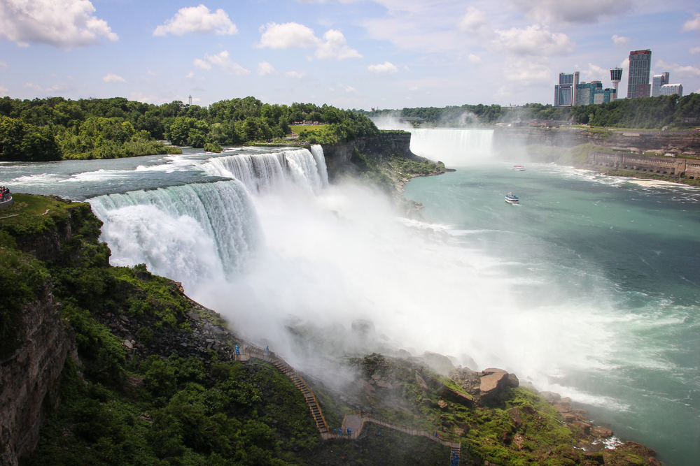 American Falls.  The Horseshoe Falls is just behind it in the far. Canada to the right.