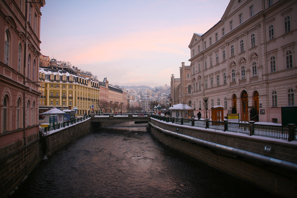 Karlovy Vary.  View over Tepla river.